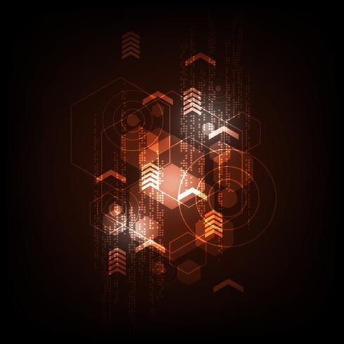 Geometria no conceito de tecnologia em um fundo escuro e laranja. vetor