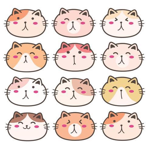 Conjunto de personagens de gato bonito mão desenhada. Ilustração vetorial. vetor