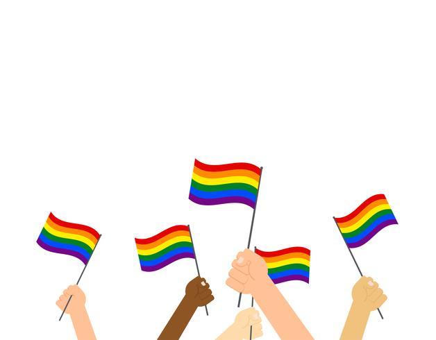 Mãos de ilustração vetorial segurando a bandeira do orgulho LGBT - bandeira feliz dia do orgulho vetor