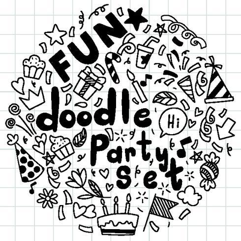 mão desenhada feliz aniversário ornamentos fundo doodle ementevent padrão festa ilustração vetorial vetor