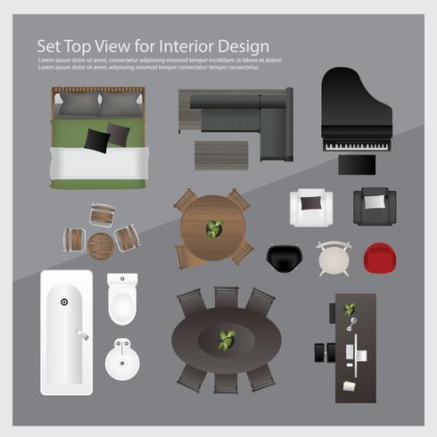 Definir a vista superior para design de interiores. Ilustração isolada vetor