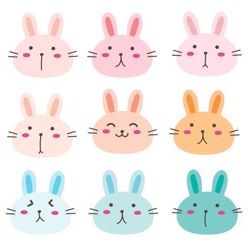 Mão desenhada Bunny conjunto de caracteres fofos. Ilustração vetorial. vetor