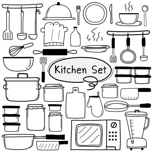 Linha mão desenhada Doodle Vector cozinha conjunto inclui equipamento de cozinha. Ilustração vetorial.