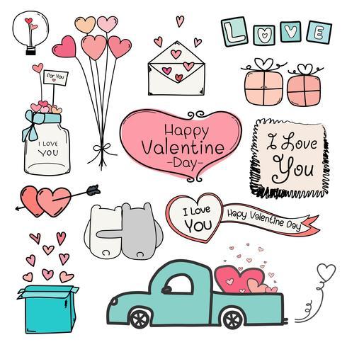 Feliz Dia dos namorados. Conjunto de etiquetas de dia dos namorados Doodle e elementos de tipografia. vetor