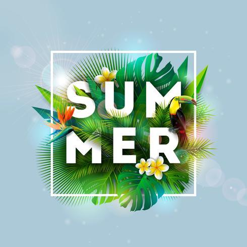 Projeto das férias de verão com pássaro do tucano, flor do papagaio e plantas tropicais no fundo azul. Ilustração vetorial com folhas de palmeira exóticas e Phylodendron vetor