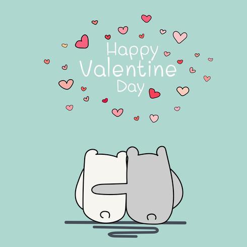 Cartão do dia de são valentim, dois urso bonito sentado e abraçando uns aos outros. Ilustração vetorial para t-shirt e outros usos. vetor