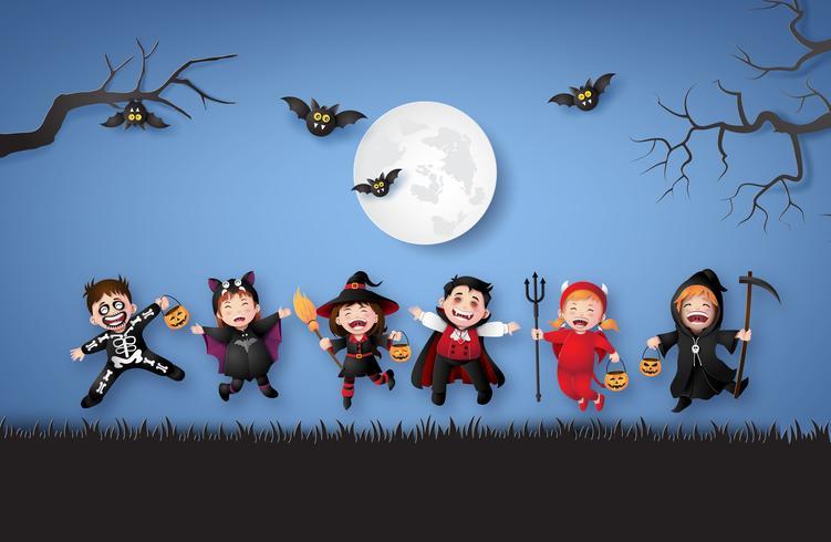 crianças em trajes de halloween. vetor