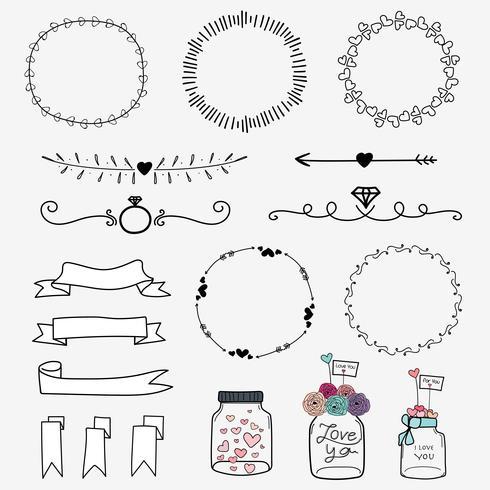 Conjunto de mão desenhada casamento convite Vintage Design tipográfico elementos mason frascos, fitas, grinaldas e coração. vetor
