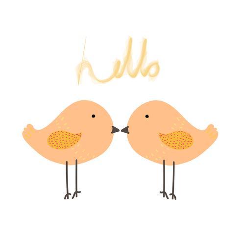 Pássaro bonito com dizer olá. Ilustração em vetor personagem animal bebê