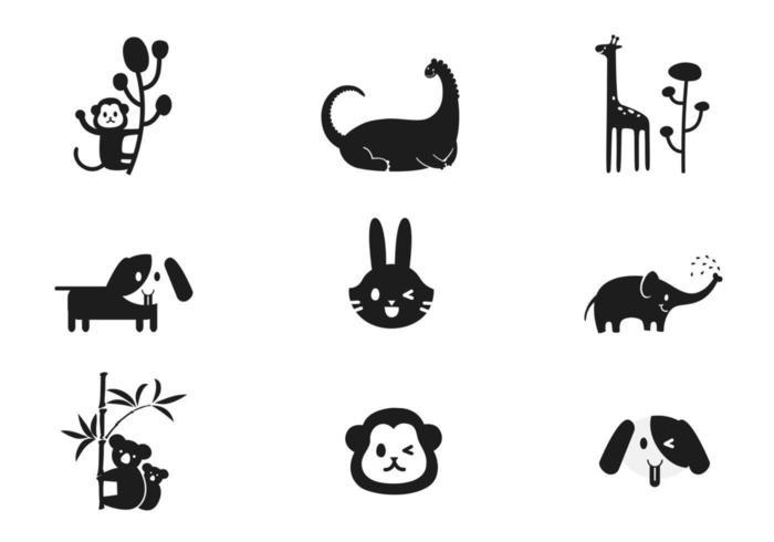 Pacote de vetores de animais simples dos desenhos animados