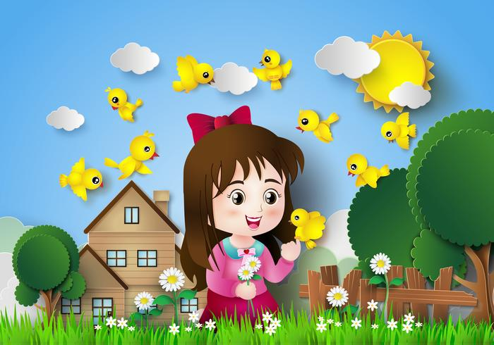 Menina bonito que senta-se em um jardim de flor. vetor