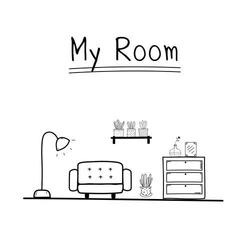 Meu quarto. Ilustração do vetor da sala de visitas da garatuja.