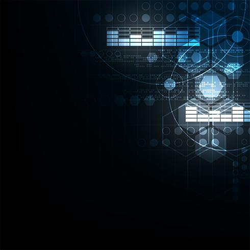 Geometria no conceito de tecnologia em um fundo azul escuro. vetor