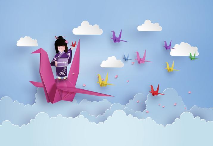 Meninas japonesas que vestem o pássaro nacional do vestido e do origâmi que voam no céu com clound. vetor