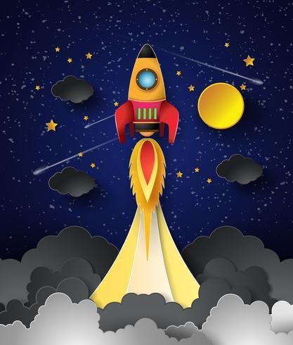 Lançamento do foguete espacial. vetor