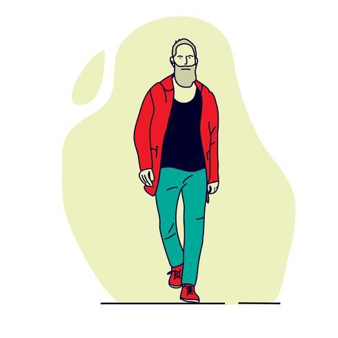 homem está andando. ilustrações de design de vetor de estilo mão desenhada