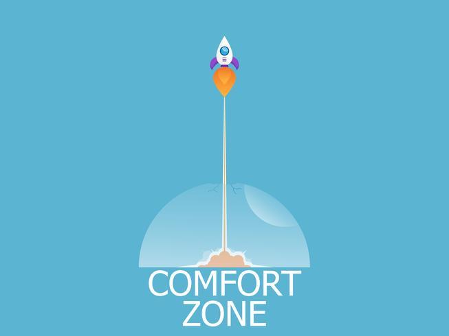 lançamento de foguete sair da zona de conforto vetor
