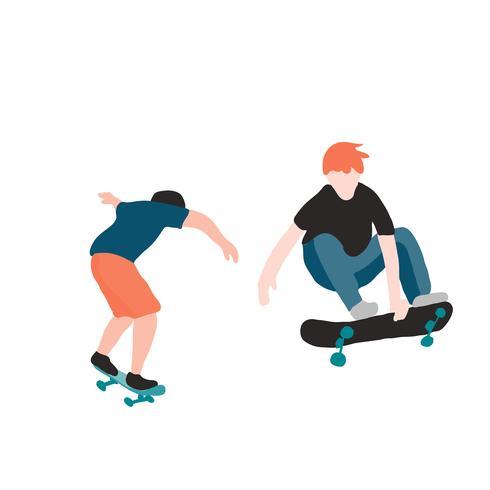 Skatista elegante em jeans e tênis. Skate. Ilustração vetorial para um cartão postal ou um cartaz, imprimir para a roupa. Culturas de rua. vetor