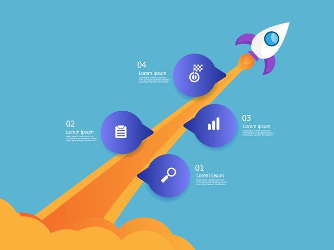 inicialização de negócios de lançador de foguetes vetor