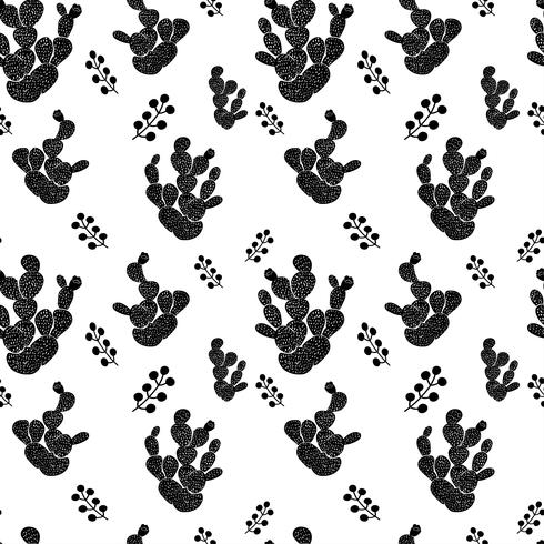 Teste padrão sem emenda decorativo desenhado mão com cactos. em estilo escandinavo. Design tropical moderno para têxteis vetor