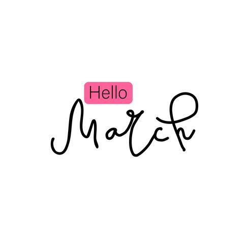 Frases de rotulação tipo mão desenhada Olá março vetor
