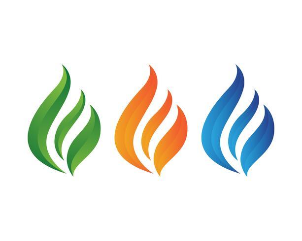 Logotipo da natureza da chama do fogo e molde dos ícones dos símbolos vetor