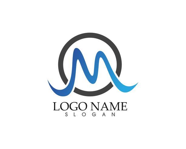 M carta onda logotipo modelo ilustração vetorial vetor