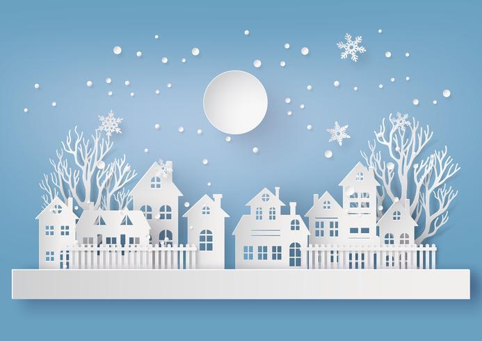 Paisagem de campo urbano de neve de inverno vetor