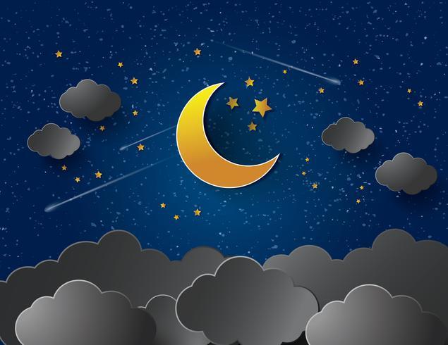 Lua e estrelas. Papel-arte vetorial vetor
