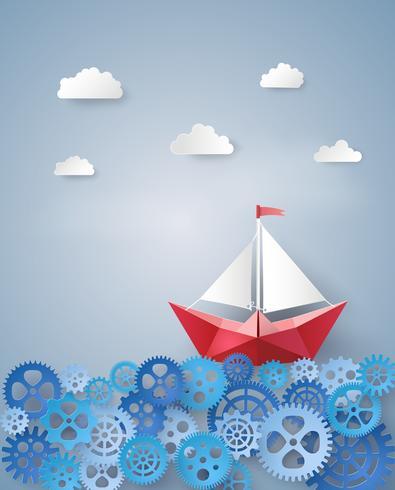 conceito de liderança com barco à vela de papel vetor