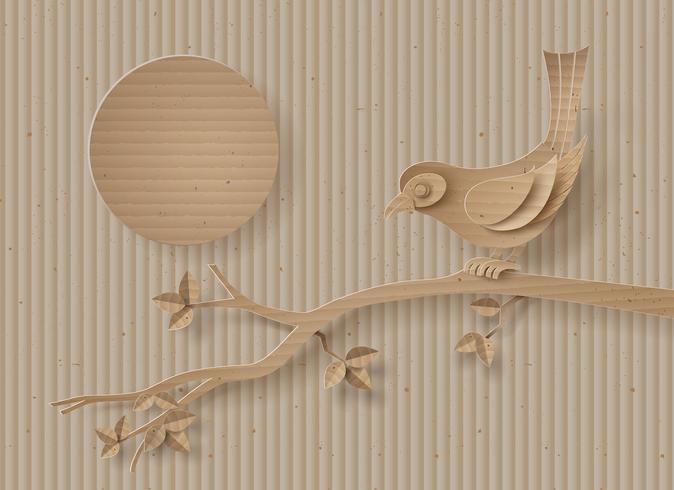 Pássaro empoleirado em um galho de uma árvore. vetor