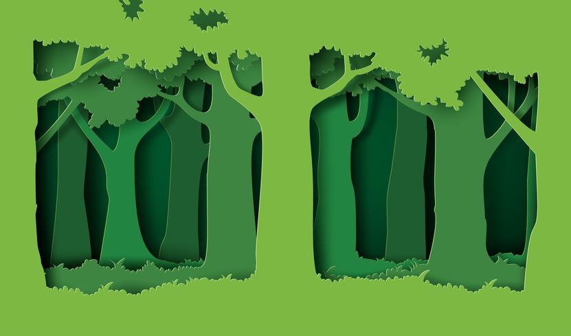 floresta com árvores e grama vetor