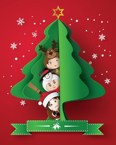 feliz natal cartão com crianças vetor