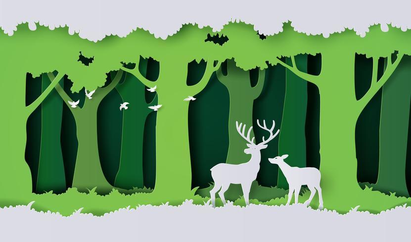 veados na floresta vetor