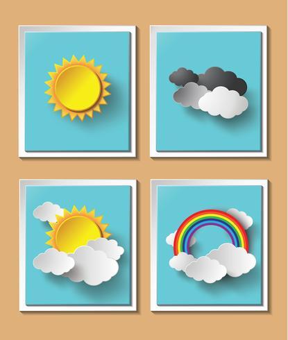 Tempo de papel abstrato com sol e nuvem motivo vetor
