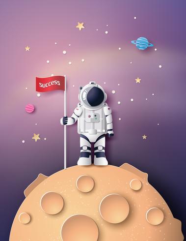 Astronauta Astronauta, corte de papel vetor
