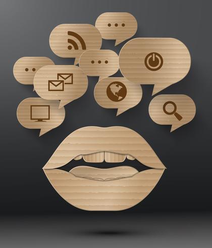 Design de papelão abstrato do discurso de bolha. vetor