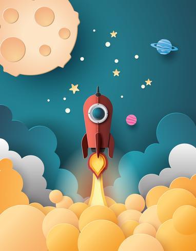 Lançamento do foguete espacial vetor
