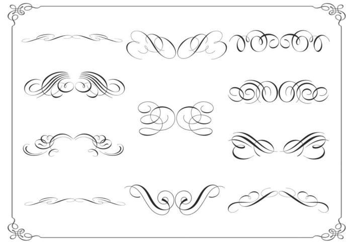 Pacote de vetores de ornamento caligráfico