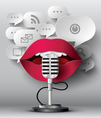 Os lábios estão falando ao microfone vetor