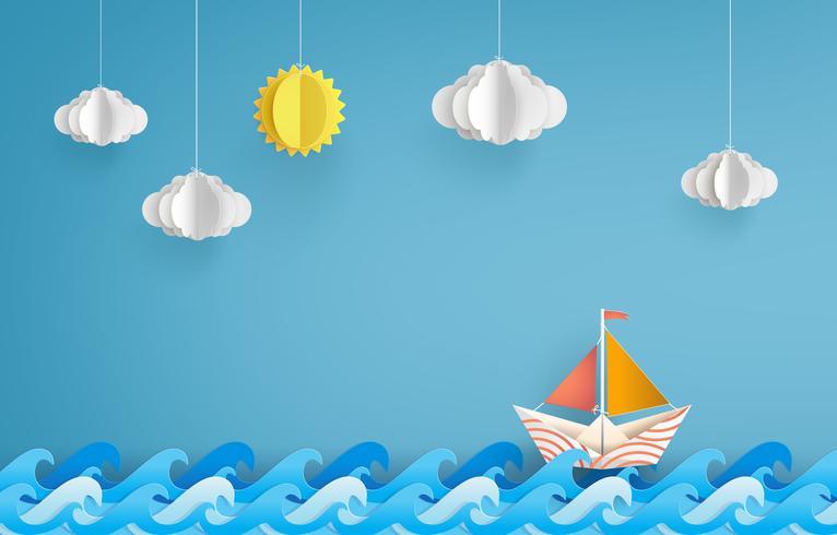 barco à vela de papel vetor