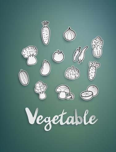 legumes de desenho à mão livre vetor