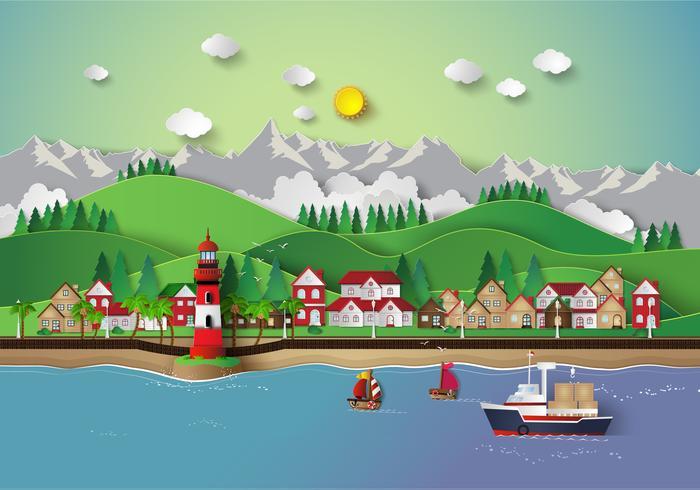 aldeia e mar baía. vetor