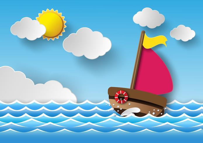 Barco à vela e nuvens vetor