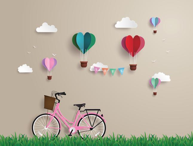 Bicicletas rosa estacionadas na grama vetor