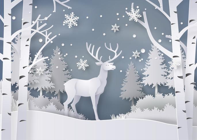 Veados na floresta com neve. vetor