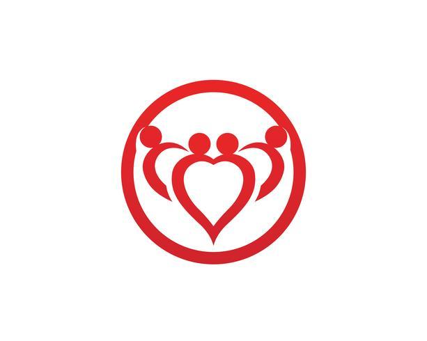 logotipo de cuidados de família de amor e modelo de símbolos vetor