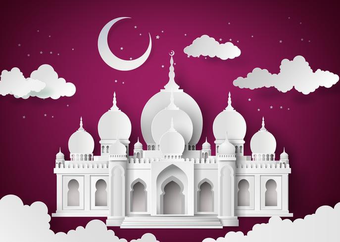 Mesquita na lua da noite vetor