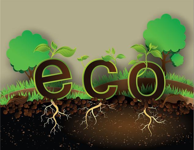 conceito eco com árvore vetor