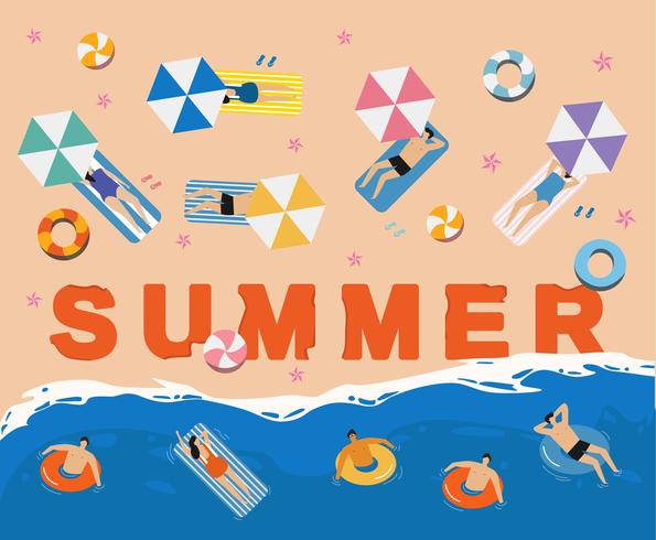 Pessoas de férias de verão na praia vetor